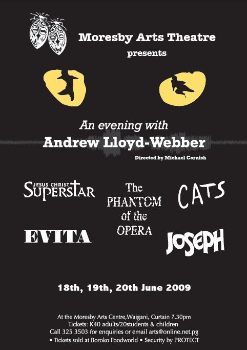 A Night with Andrew Lloyd-Webber (Poster), Moresby Arts Theatre, Michael Cornish, June 2009