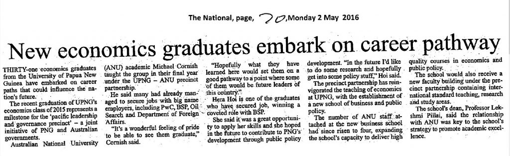 The National - New economic graduates embark on career pathway - 2 May 2016