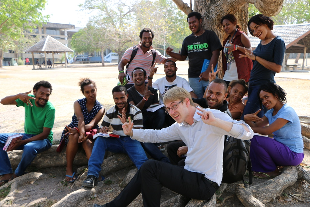 With UPNG Economics students - Michael Cornish - Port Moresby - Nov 2015